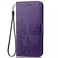 Кожаный чехол (книжка) Four-leaf Clover с визитницей для Xiaomi Mi A2 Lite / Xiaomi Redmi 6 Pro Фиолетовый