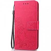 Кожаный чехол (книжка) Four-leaf Clover с визитницей для Xiaomi Redmi Note 7 / Note 7 Pro / Note 7s Розовый