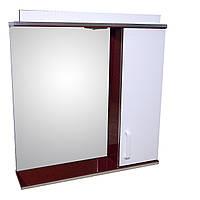 Дзеркало 70 для ванної кімнати з підсвічуванням і шафкою Дебют Перфект бордо, фото 1