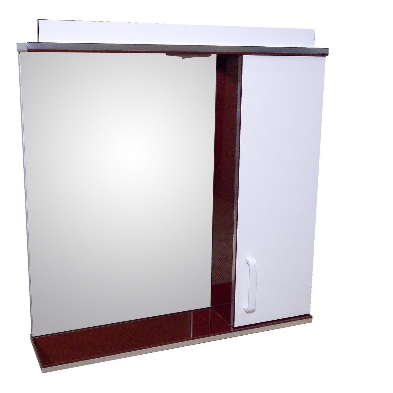 Зеркало 70 для ванной комнаты с подсветкой и шкафчиком Дебют Перфект  бордо
