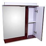 Зеркало 70 для ванной комнаты с подсветкой и шкафчиком Дебют Перфект  бордо, фото 2