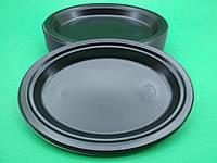 Одноразовая посуда тарелка овальная черная 310мм, 50 шт\пач