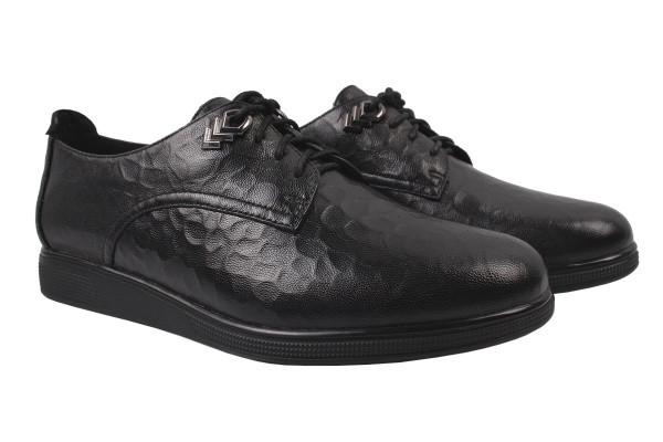 Туфли комфорт женские на шнуровку Molka натуральная кожа, цвет черный