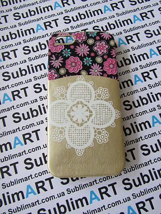 Дизайнерский чехол ручной работы для Iphone 5/5s (цветы с кармашком), фото 2