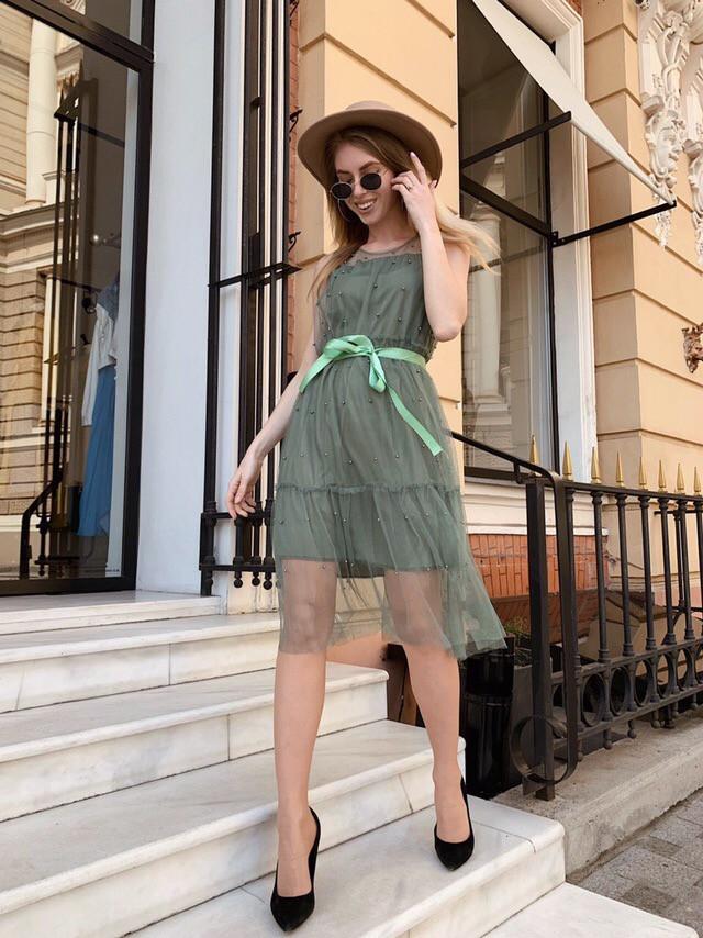 Модное легкое летнее платье из шифона Хаки