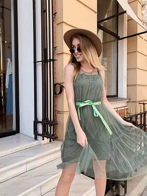 Модное легкое летнее платье из шифона Хаки, фото 2