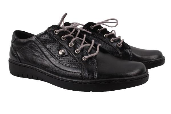 Туфли комфорт женские на низком ходу Pimo натуральная кожа, цвет черный, Польша.