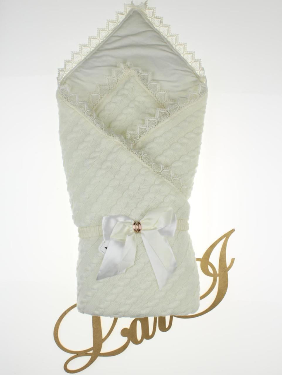 """Демисезонный конверт-одеяло """"Змейка"""" молочный"""