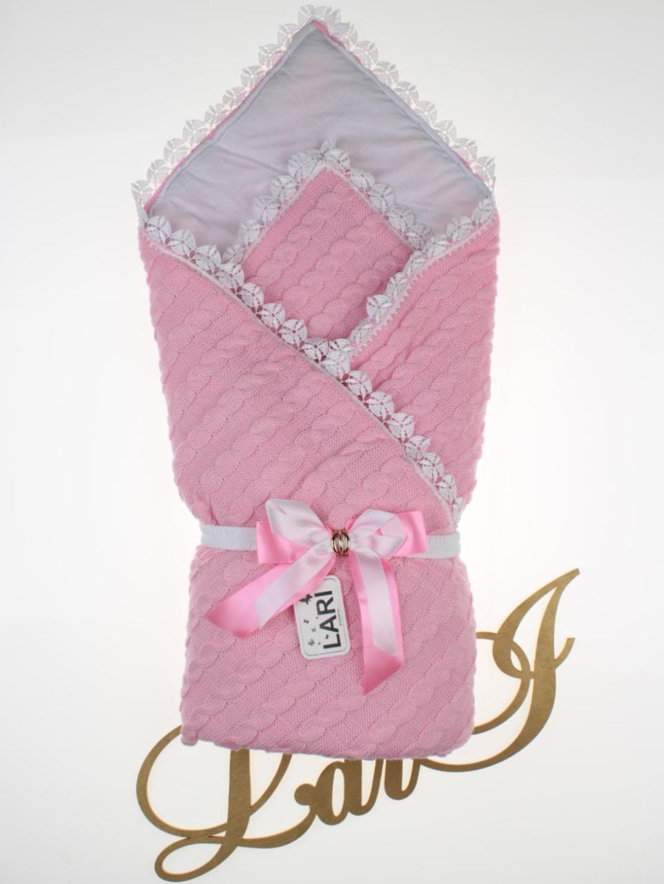 """Демисезонный конверт-одеяло для девочки """"Змейка"""" розовый"""