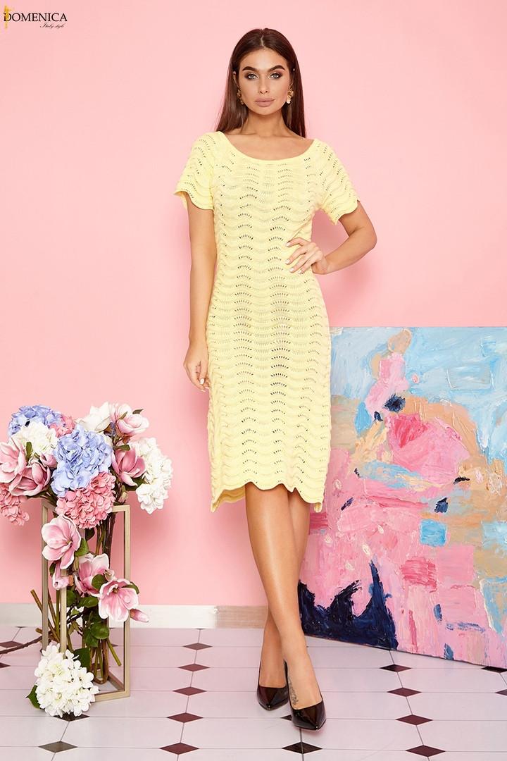 Ажурне плаття натуральної бавовняної пряжі. Розмір: 42-46. Різні кольори (V 14)
