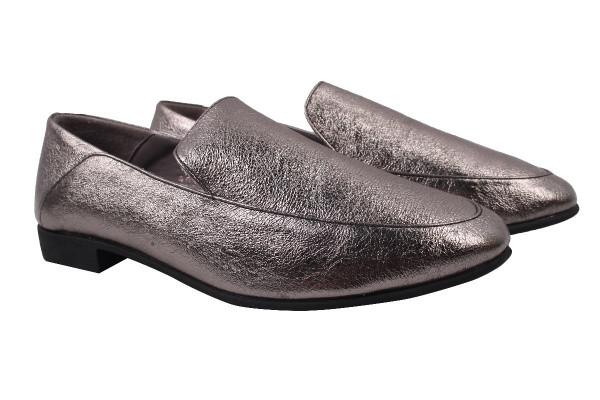 Туфли женские на низком ходу, натуральная кожа, цвет платина, Tucino Турция.