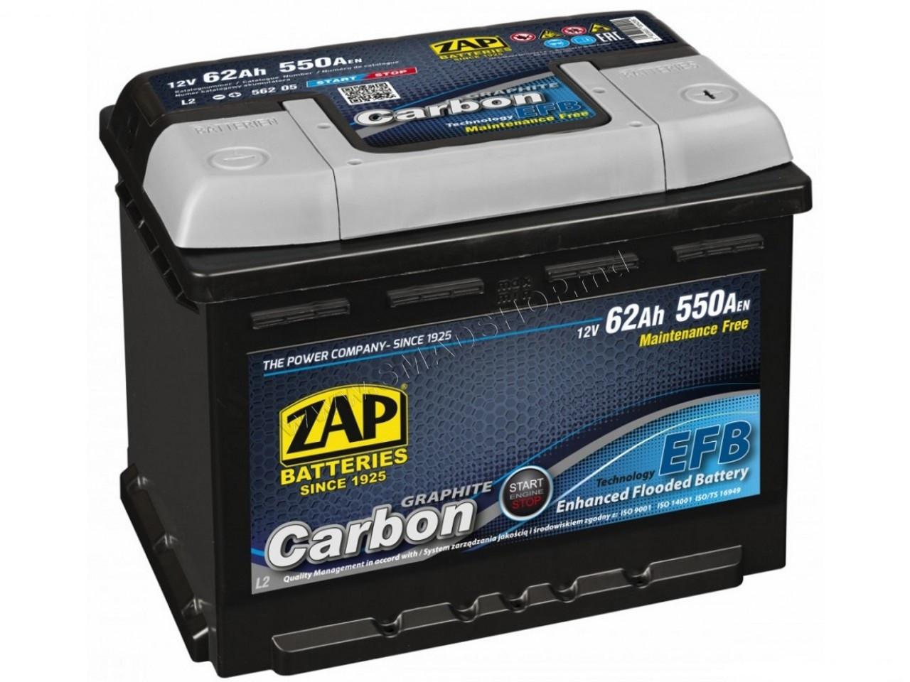АКБ ZAP 6СТ-62Аз 550А R+ Carbon Start/Stop EFB 242*175*190