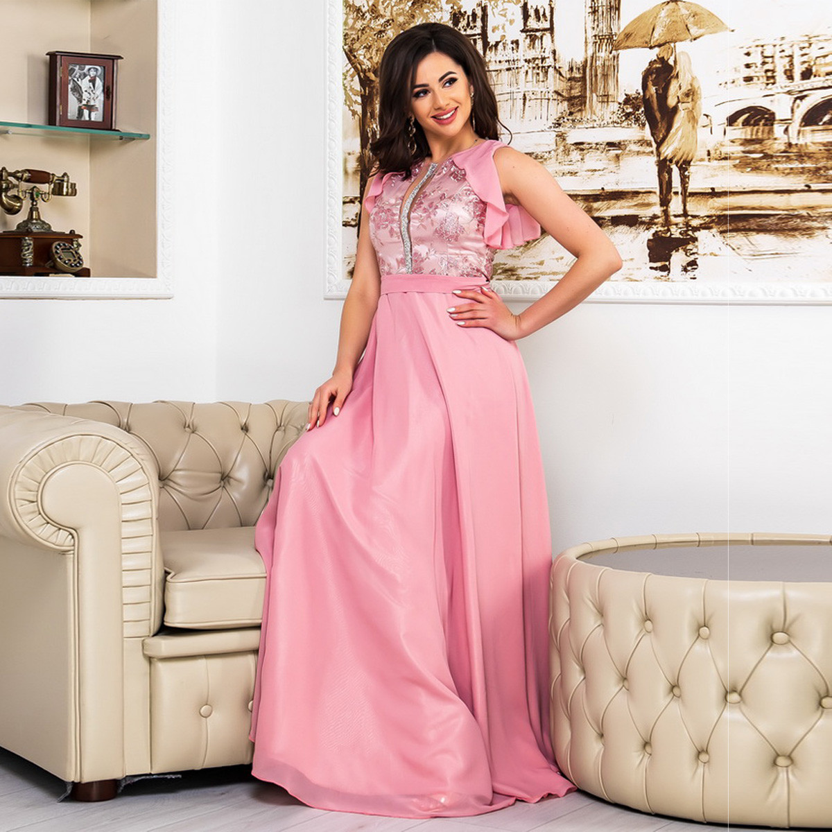 """Рожеве шифонова випускний, вечірній довга сукня """"Флай"""""""