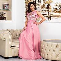 """Рожеве шифонова випускний, вечірній довга сукня """"Флай"""", фото 1"""