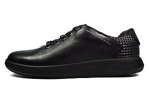 Черные мужские кожаные кроссовки комфорт BRONI
