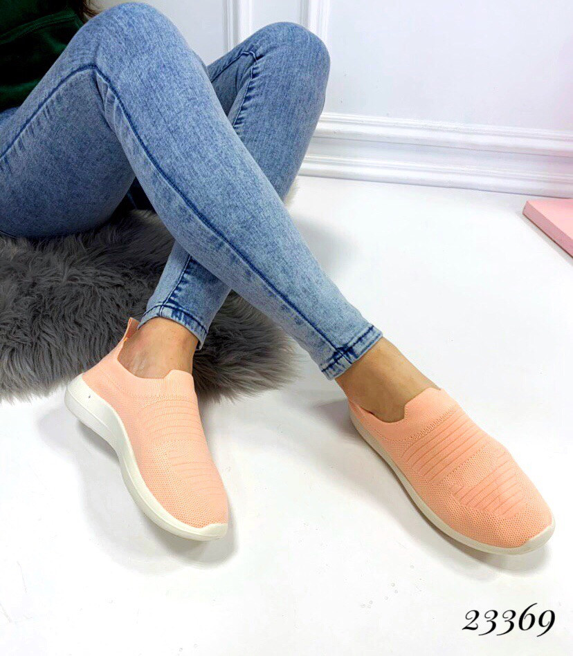 Слипоны-носочки текстиль пудровые