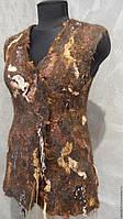 """Авторский валяный жилет из шерсти и натурального шелка """"Tiramisu"""", фото 1"""