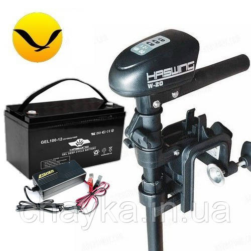 Электромотор для лодки Haswing W-20 +80a/h AGM аккумулятор +зарядка 10A. Комплект; (Лодочный электромотор Хасвинг 20);