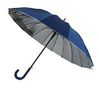 Женский зонт-трость с городами на серебристом напылении под куполом от Calm Rain, синий, 1011-1
