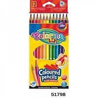 Карандаши цветные треугольные 12 цветов ТМ Colorino 51798