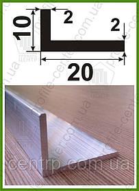Уголок алюминиевый 10х20х2 разнополочный разносторонний