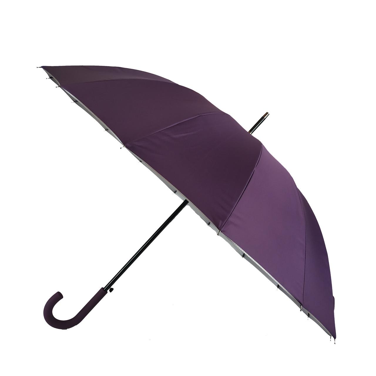 Женский зонт-трость с городами на серебристом напылении под куполом от Calm Rain, фиолетовый, 1011-5