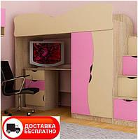 Кровать-чердак Тeenager цвет Дуб Сонома, фасад МДФ крем/розовый, бесплатная доставка в Ваш город