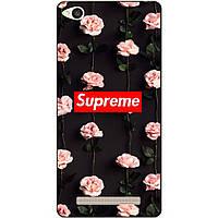 Бампер силиконовый чехол для Xiaomi Redmi 4a с рисунком Supreme на розах