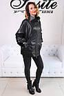 Женская Кожаная Куртка Стойка Батал Черная 006ДЛ, фото 2