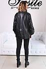 Женская Кожаная Куртка Стойка Батал Черная 006ДЛ, фото 3