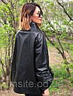 Женская Кожаная Куртка Стойка Батал Черная 006ДЛ, фото 4