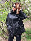 Женская Кожаная Куртка Стойка Батал Черная 006ДЛ, фото 5