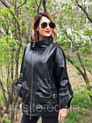 Женская Кожаная Куртка Стойка Батал Черная 006ДЛ, фото 6