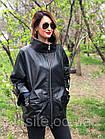 Женская Кожаная Куртка Стойка Батал Черная 006ДЛ, фото 7