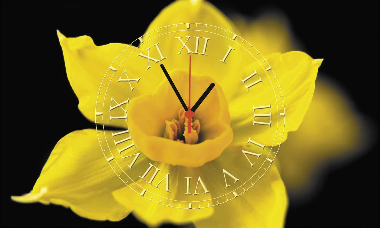 "Часы настенные стеклянные ""Желтый нарцисс"""