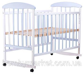 Детская кроватка Наталка, ольха бело-голубая
