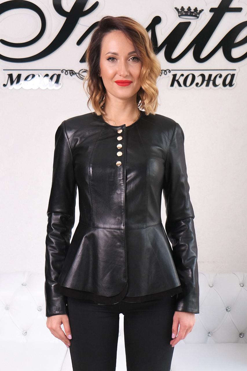 Куртка Кожаная Шанель - Воротник Пояс 001ДЛ