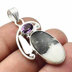 Кулон из серебра с пинолитом, 24*14 мм., серебро 925, 473ПП