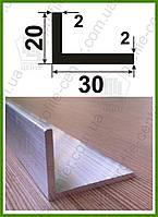 Уголок алюминиевый 20х30х2 разнополочный разносторонний