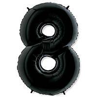 "Шар цифра Фольга ""8"" черный (1 метр) флекс металл"