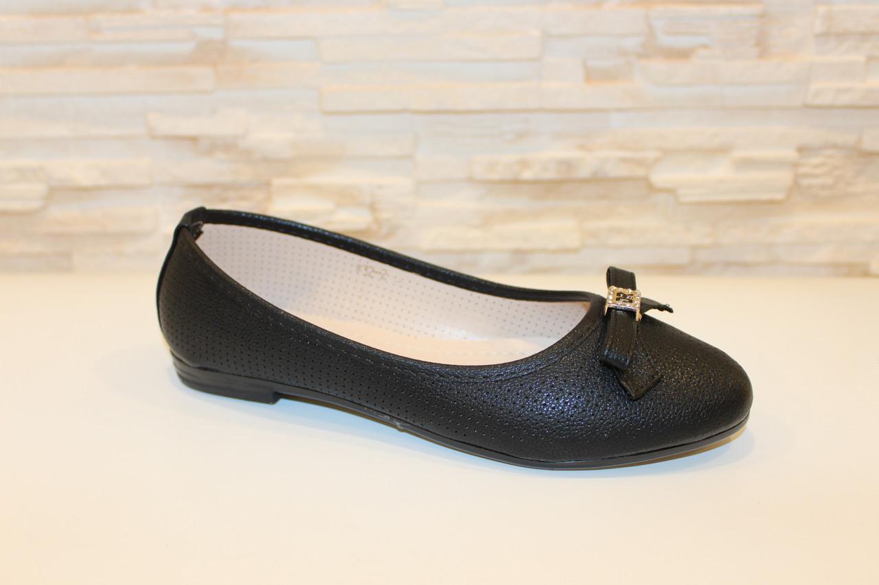 Балетки туфлі жіночі чорні з бантиком код Т248