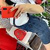 Женский комплект: сарафан из денима и футболка. Д-65-0419, фото 4