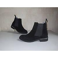 Ботинки женские демисезонные черная замша