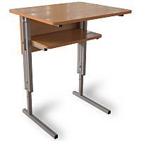 Парта для школы одноместная, ученический стол аудиторный с регулировкой по высоте, царга с полкой, фото 1