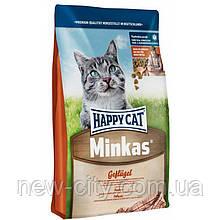 Корм Happy Cat (Хэппи Кэт)  Minkas Geflugel  c птицей для взрослых стерилизованных котов 10кг