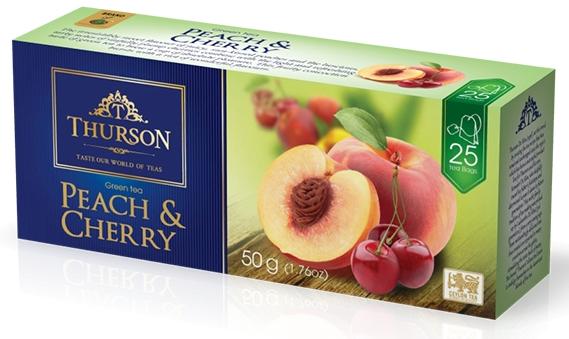 Чай зеленый пакетированный Thurson Персик Вишня 25 пак.