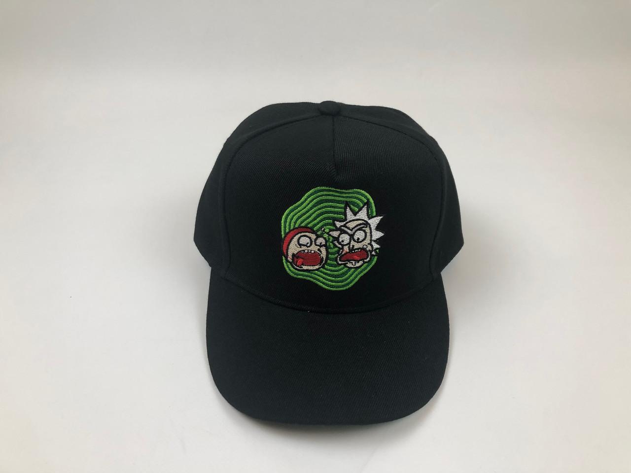 Кепка бейсболка Рик Морти - Зеленый круг (черная)