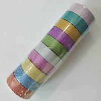 Скотч декоративний 1,4 см кольоровий з глітером, упаковка 10 мотків по 3 м різного кольору