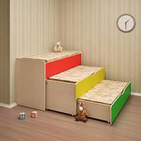 Кровать детская 3-х ярусная выдвижная для садика. Кровати  для детского сада трехъярусные.