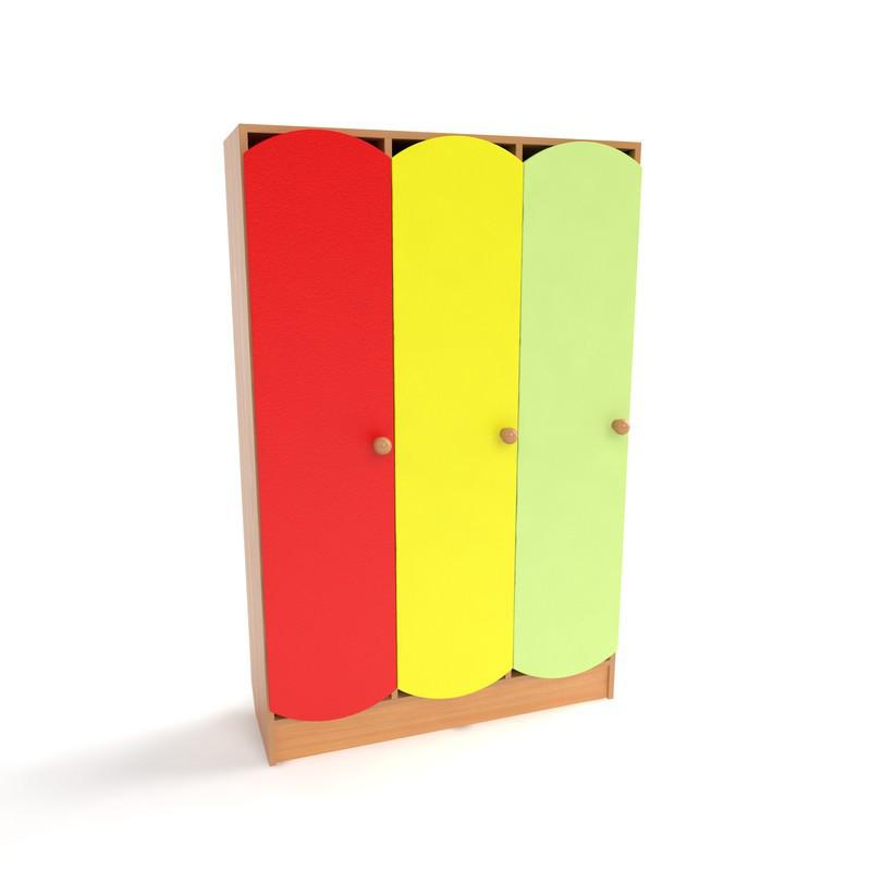 Шкаф для раздевалки детский 3-х секционный с цветными дверцами (920*250*1250h)